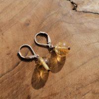 Boucles d'oreilles Boules en Citrine – Argent