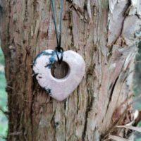 Pendentif Donut Coeur en Rhodonite