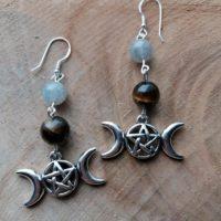 Boucles d'oreilles Triple Lune – Oeil de Tigre & Labradorite