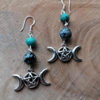 Boucles d'oreilles Triple Lune – Obsidienne & Turquoise