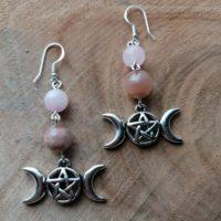 Boucles d'oreilles Triple Lune – Pierre de lune & Quartz rose