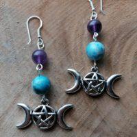 Boucles d'oreilles Triple Lune – Apatite & Améthyste