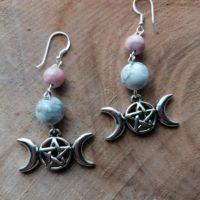 Boucles d'oreilles Triple Lune – Howlite & Rhodocrosite