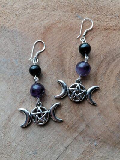 Boucles d'oreilles Triple Lune – Améthyste & Tourmaline