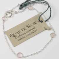 Bracelet pierres Quartz rose 4 mm – Argent 925