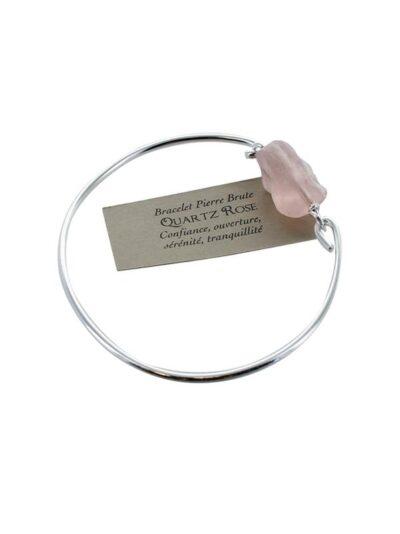 Bracelet Pierre brute Quartz rose – Argent 925