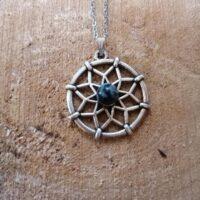 Pendentif Fleur de Vie – Obsidienne flocons de neige